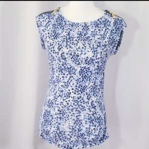 Michael Kors floral pattern ruched sides top. S